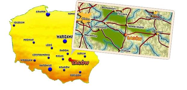 Baza noclegowa - polożenie Łagowa w Polsce i Regionie Świetokrzyskim
