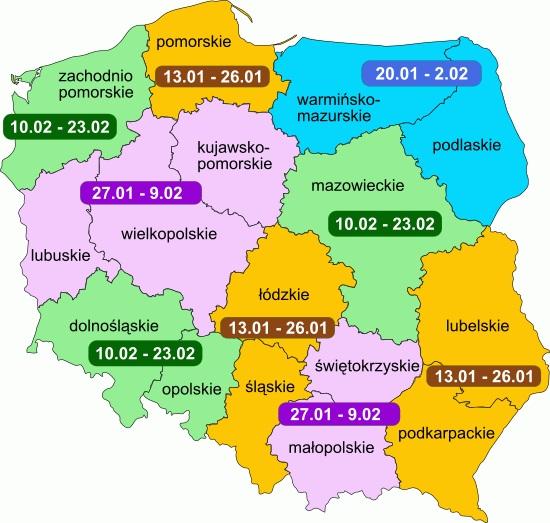 Terminy - ferie zimowe 2020, mapa Polski